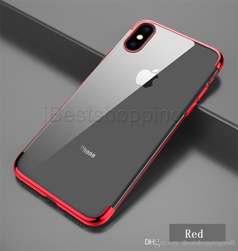 Металл гальванического Soft TPU Clear Phone Case для iPhone 11 про макс XR-7 6S Plus