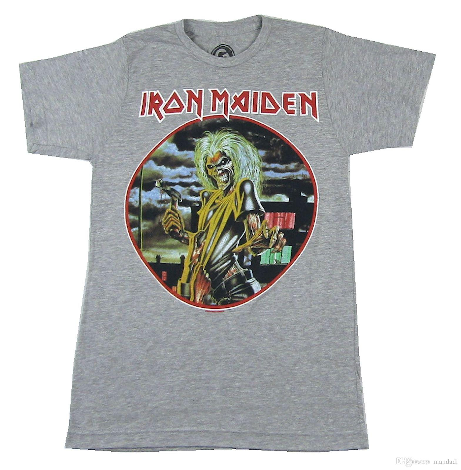 41679f6e3dc Iron Maiden Killers Ed Heather Grey T Shirt New Official Band Merch Album  Art Shirts Funny Designer White T Shirt From Mandadi