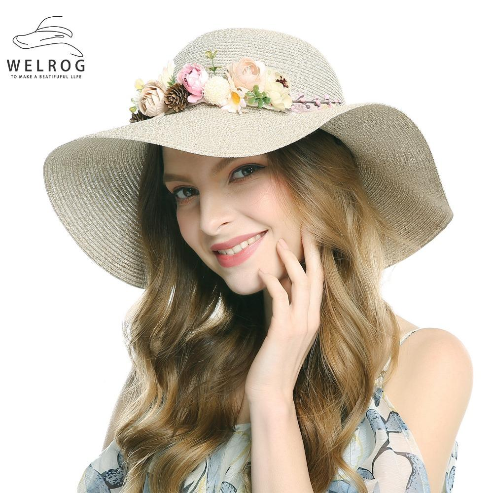 123fd767 WELROG Women Straw Hat Sunhat Beach Flower Headband Foldable Wide ...