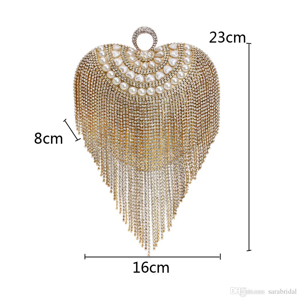 2018 Luxury Bling Sweetheart Style Ladies Fashion Bag Beading Women Clutches Tote Chain Bride Bridal Purses Evening Party Casual Hand Wallet