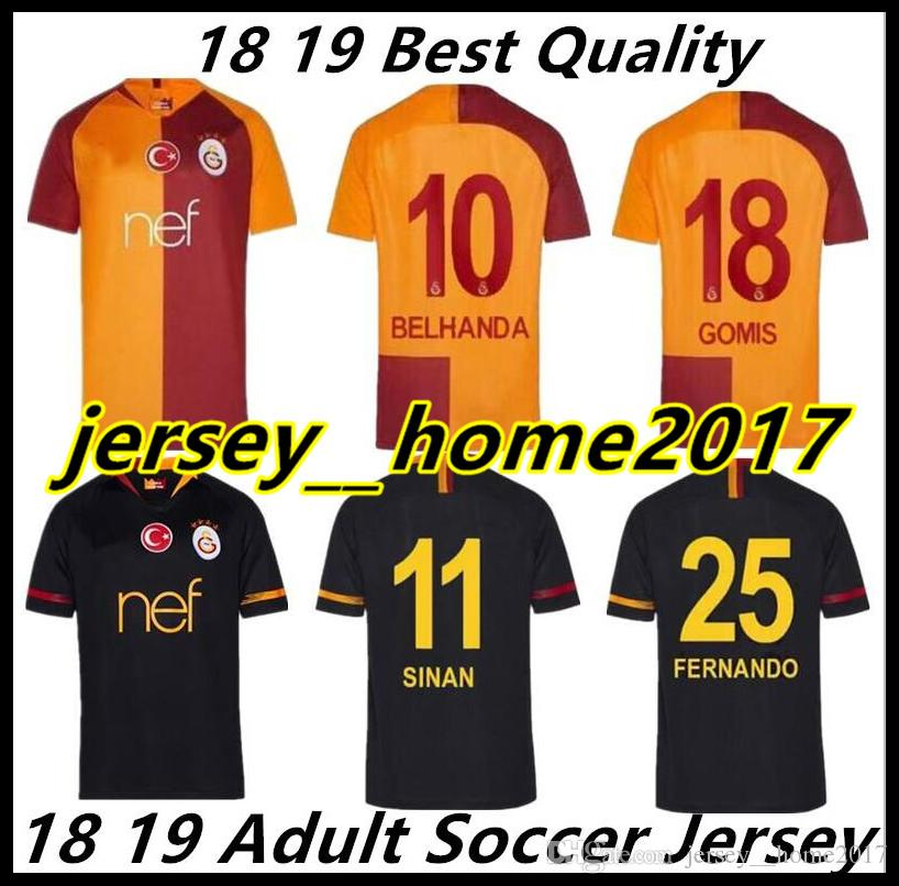 18 19 Galatasaray Socce Jerseys Champions League 2018 2019 Home Away  CIGERCI BELHANDA FERNANDO FEGHOULI GOMIS SINAN Football Shirt UK 2019 From  ... bae6922e1