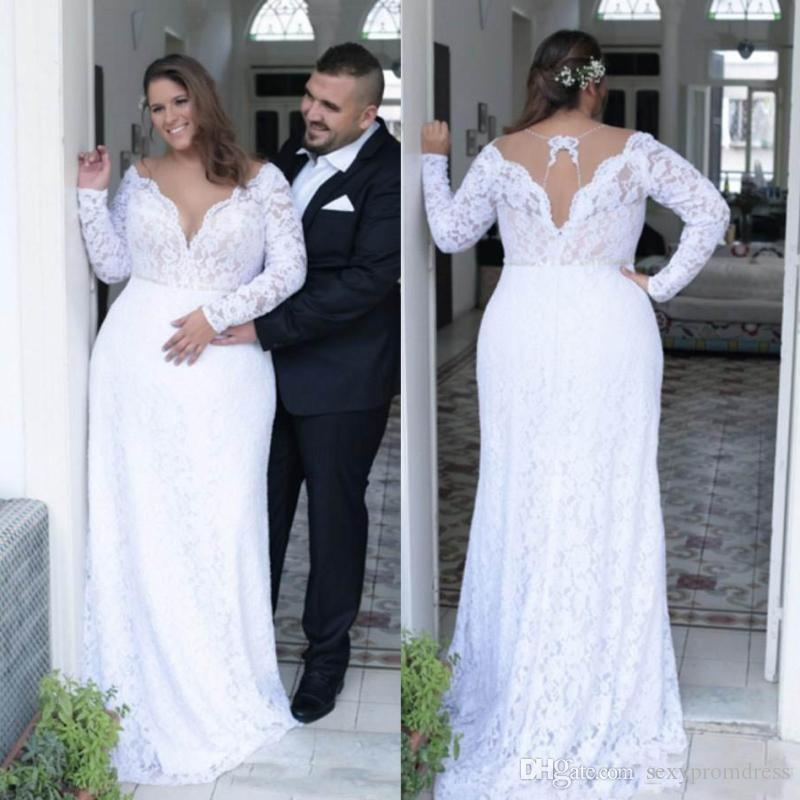 c2af027b Discount Retro Lace Plus Size Wedding Dresses 2018 2019 Sheer Neck Long  Sleeves Bridal Gowns Hollow Back Wedding Vestidos Customized Wedding Dress  Online ...