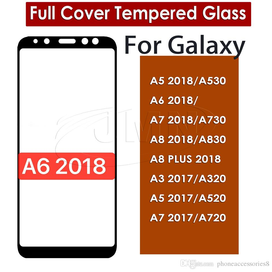 Full Cover Tempered Glass For Samsung Galaxy A6 2018 A5 2018/A530 A7 A730  A8 A830 A8 PLUS 2018 A3 2017 A320 A5 2017 A520 A7 2017 A720
