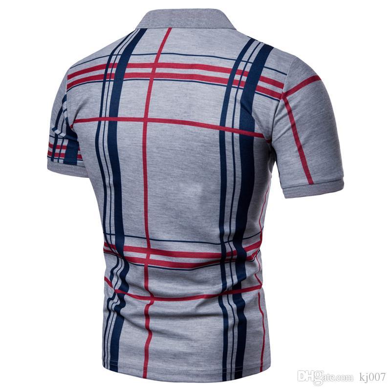 Повседневная рубашки поло плед печати тис 2018 Хорошее качество бренд Poloshirt новое прибытие лето стенд воротник кнопка Бесплатная доставка Азии размер