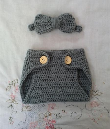 Sale Crochet Baby Bow Tie And Diaper Cover Set Newborn Photo Prop
