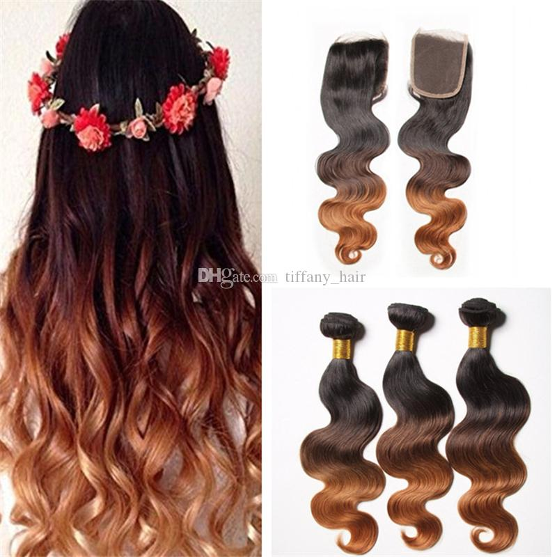 2019 Indian Ombre 1b 4 30 Body Wave Hair Bundles With Lace Closure