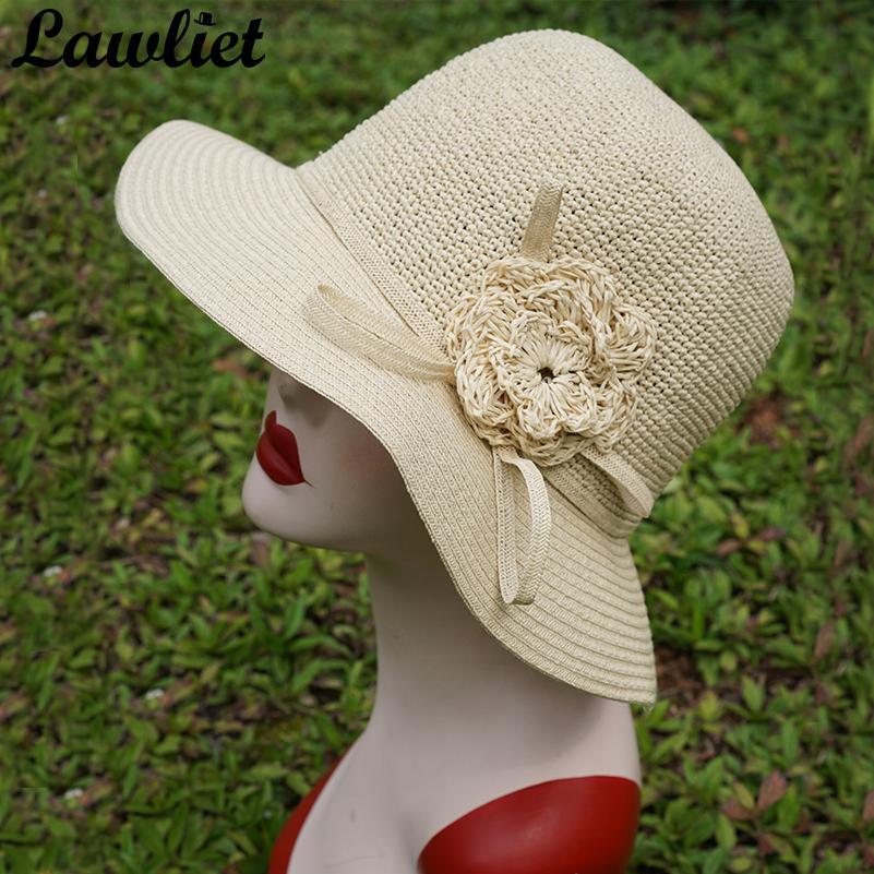Women Summer Hat Wide Brim Paper Woven Straw Hat Vintage Felt Bucket Cloche  Floral Sun Protection Floppy Beach Cap Dress Bucket Hats For Men Womens Hats  ... e307614bbabf