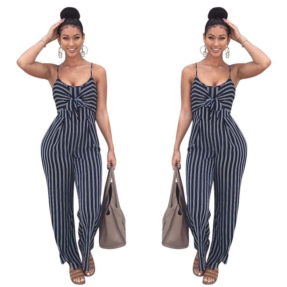 01899331fbde 2019 2018 Sexy Stripe Bow Tie Loose Rompers Womens Long Jumpsuit Fashion  Halter Jumpsuit Women Ladies Slim Fit Sexy Bodysuit From Regine
