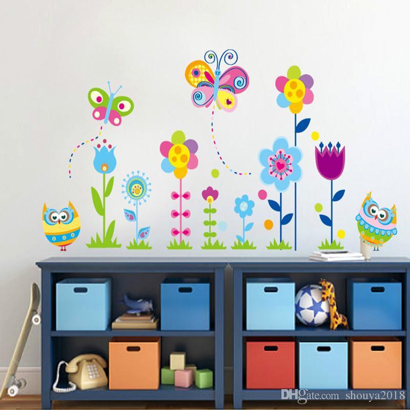 Ücretsiz kargo Karikatür Baykuş Çiçek Çiçek kelebek Ağacı Duvar Sticker için çocuk odaları Vinil sticker Çıkartması Ev dekor