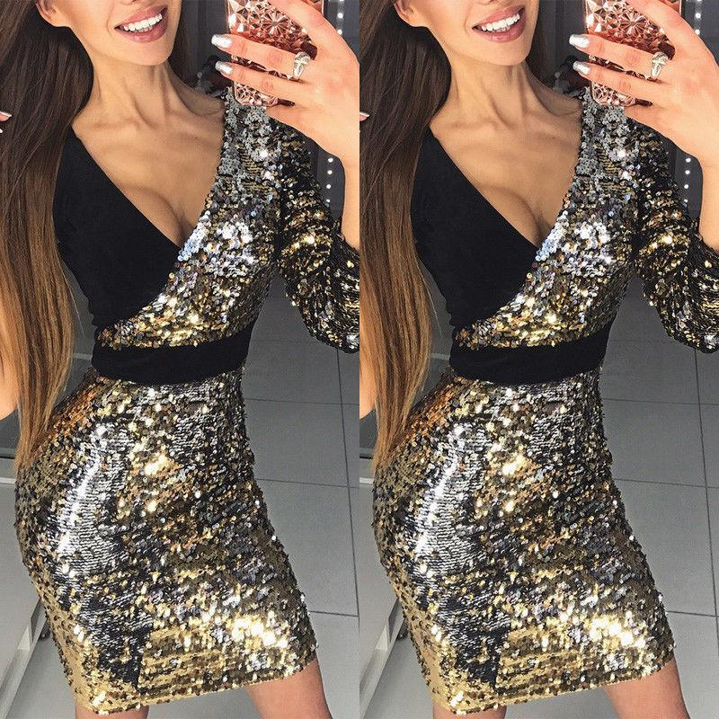 39758daa037c 2019 New Fashion Women Long Sleeve One Shoulder Bodycon Sexy Sequins Party  Evening Mini Club Dress Deep V Neck Short Dresses Purple Floral Maxi Dress  Black ...