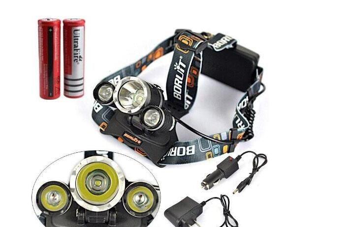 Best price 5000 Lumen T6+2R5 Boruit Head Light Headlamp Outdoor Light Head Lamp HeadLight Rechargeable by 2x 18650 Battery Fishing Camping