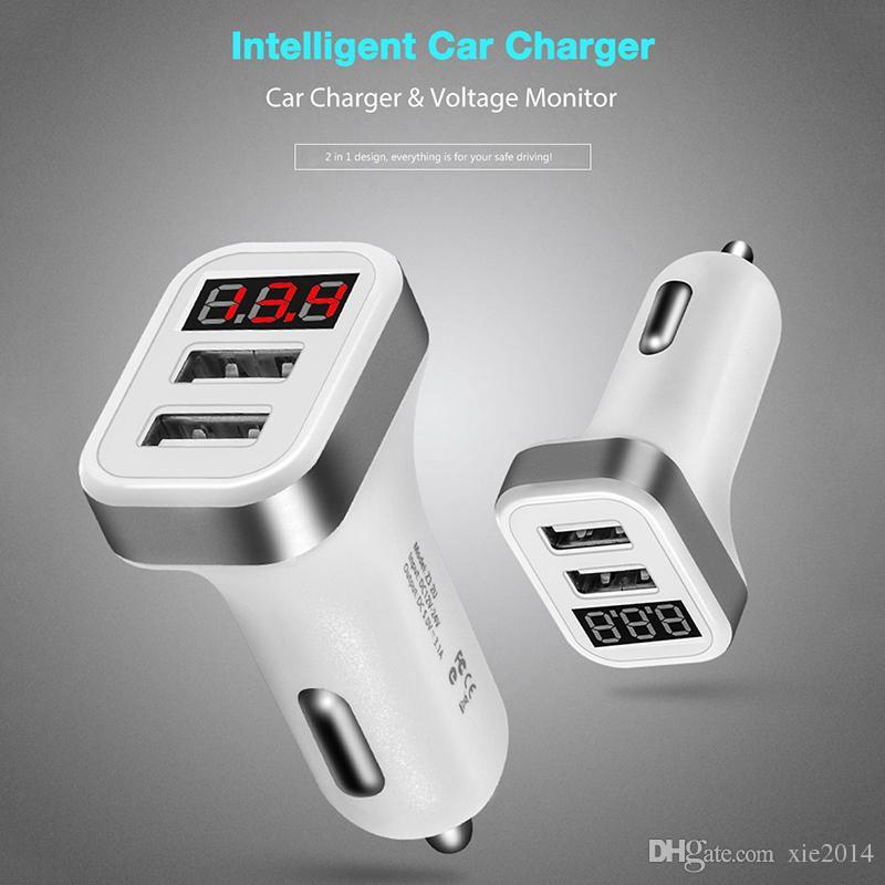 Max 2.1A Cargador de coche Pantalla LCD Dual USB Puerto para iPhone iPad Samsung Xiaomi Adaptador de teléfono de carga Car-charger Doble USB