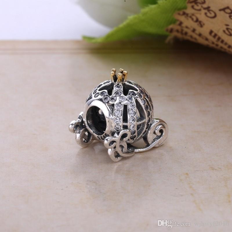 Authentic 925 Sterling Silver Cinderela Abóbora Charme Beads Banhado A Ouro de Cristal Rhinestone Abóbora Talão Serve Pulseiras Pandora DIY Jóias
