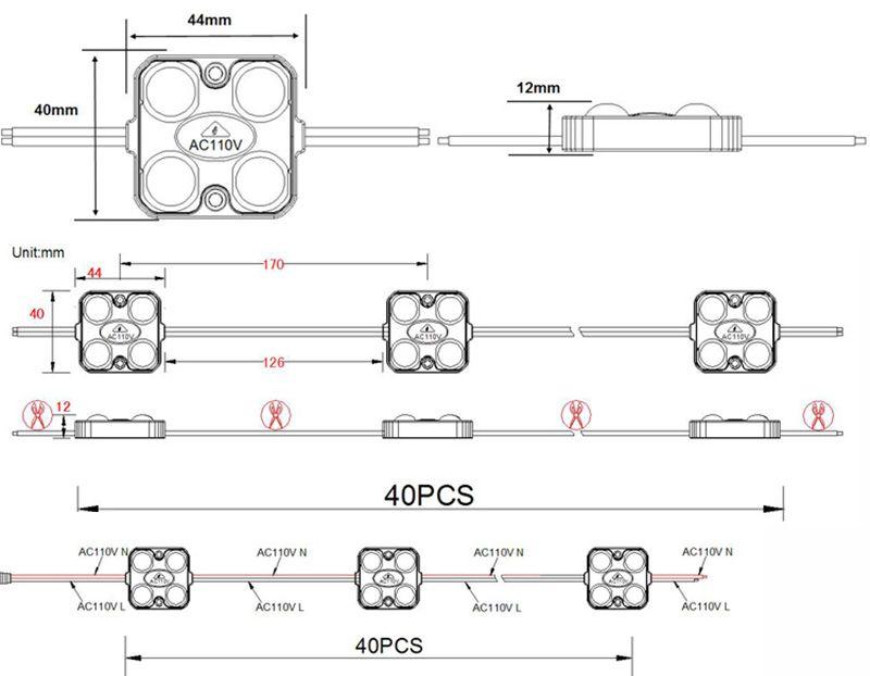 110V 고전압 LED 모듈 빛 16.75ft 빛 보드 패널 빛 좋은 품질 5 년 보증 1.5W 기호 다시 4LED