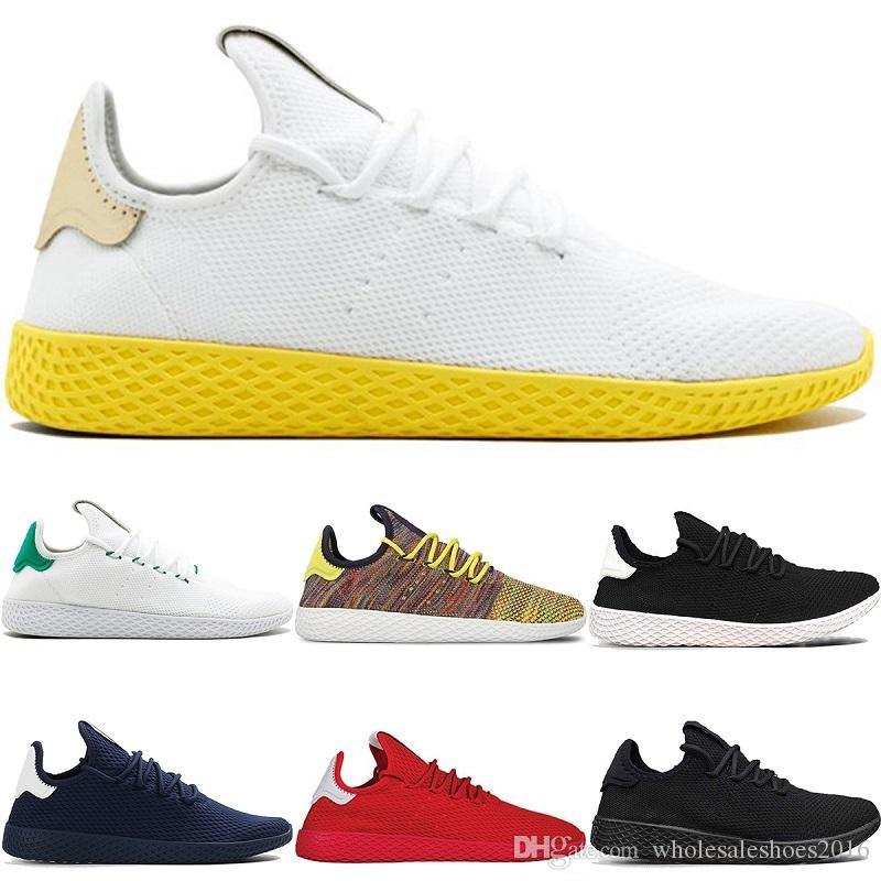 buy popular 4b40e 42e32 Designer Pharrell Williams x Stan Smith Tennis HU Primeknit Men Women  Running Shoes White Green Breathable Mesh Sports Sneaker size 36-45