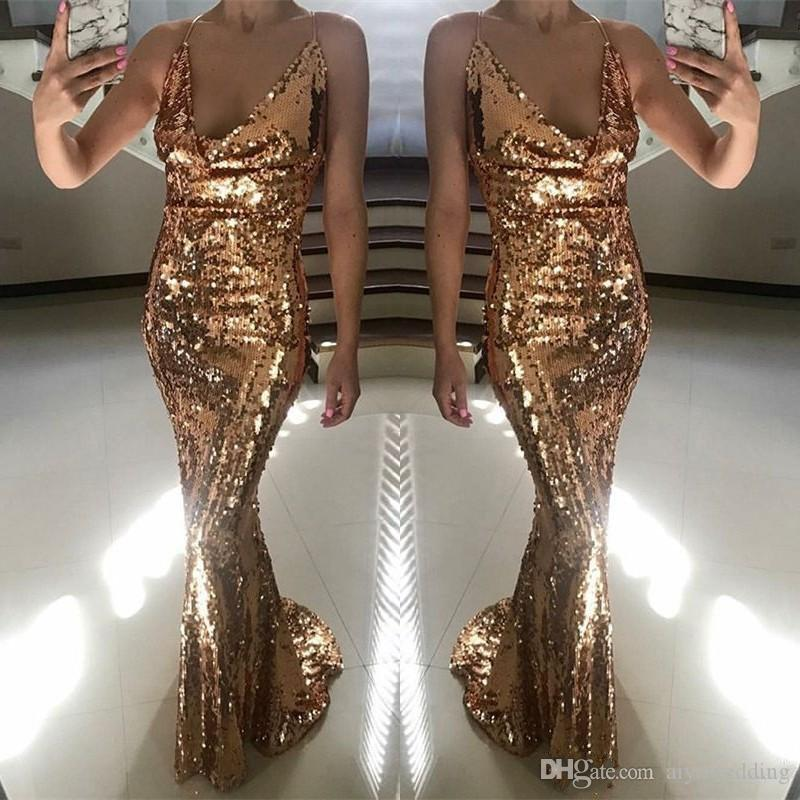 dd838f175a2 Light Rose Gold Mermaid Evening Dresses Sexy Spaghetti Straps V Neck  Sleeveless Sequined Long Prom Dress Glamorous Fashion Formal Gowns Formal  Wear For ...