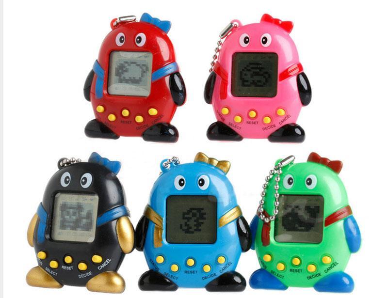 Criativo Mais Novo Engraçado Tamagotchi Animais de Estimação Brinquedos Forma Pinguim Colorido Tamagochi Eletrônico Brinquedos Com Tumbler Forma de Ovo Embalagem de Presente de Natal