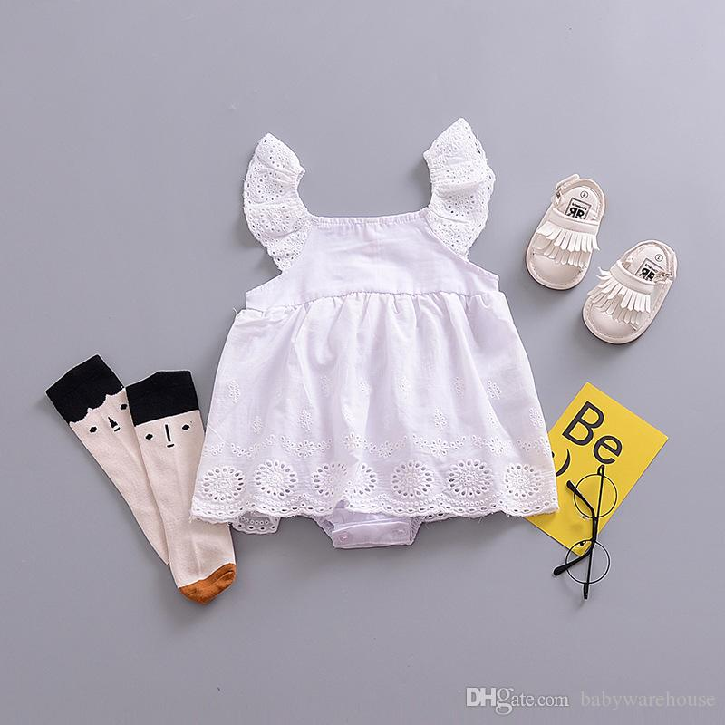 70336ed2b21a 2019 2018 Summer Baby Girl Romper Dress Infant Toddler Girls Clothes Cotton  White Lace Sleeveless Romper Jumpsuit Outfits Sunsuit Kids Clothing From ...