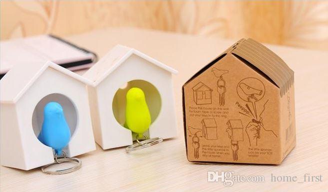 Neuheit-bunte Spatz-Vogel-Pfeifen-Schlüsselketten-Liebes-Vogel-Haus-Schlüsselring-Suite Haupteinrichtungs-Mode-Geschenke