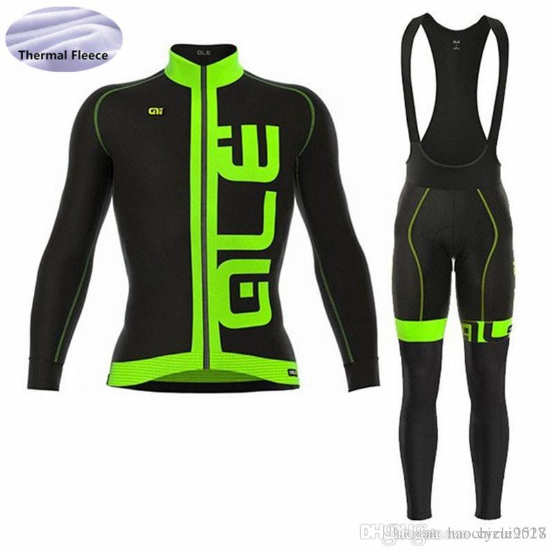 2018 ALE Team Long Sleeve Cycling Jersey Bicycle Wear Bib Pants Set Bike  Cycling Clothing Winter Thermal Fleece Ropa Ciclismo Bicycle Jerseys Cycling  Bibs ... 82677dbb3