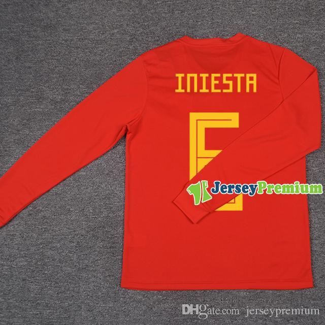 Camiseta De Manga Larga Para España Camiseta De Fútbol Roja Asensio Morata  Isco Pique Ramos Iniesta Por Jerseypremium 9c4743374b5e4