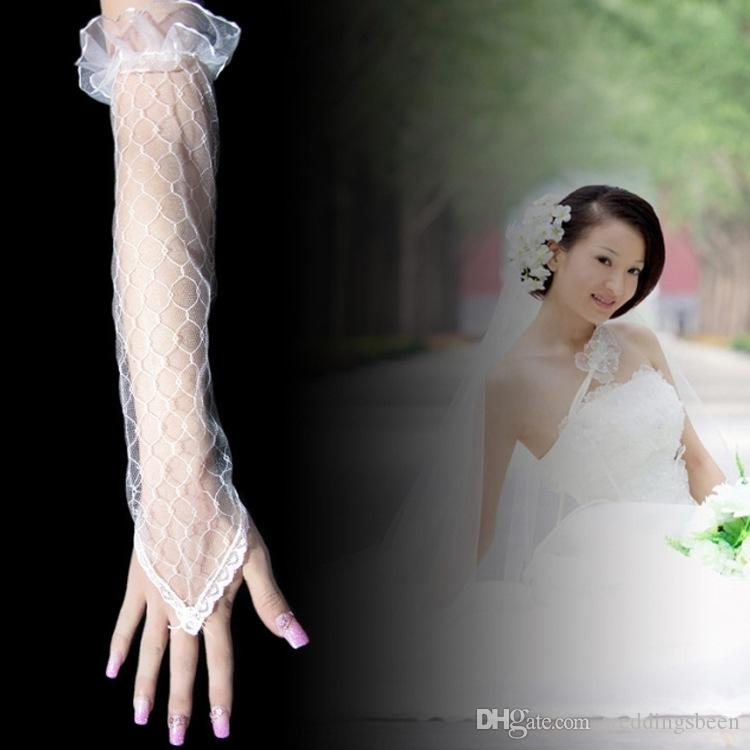 Wholesale bridal wedding dress fingerless yarn long gloves beige net lace hook summer hand sleeve factory direct sales