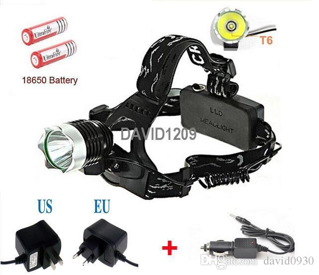 2000 Lumens Waterproof CREE XM-L T6 3 Modes Brightness LED Headlamp Headlight Head Lamp Light for Outdoor Sport+charger+battery