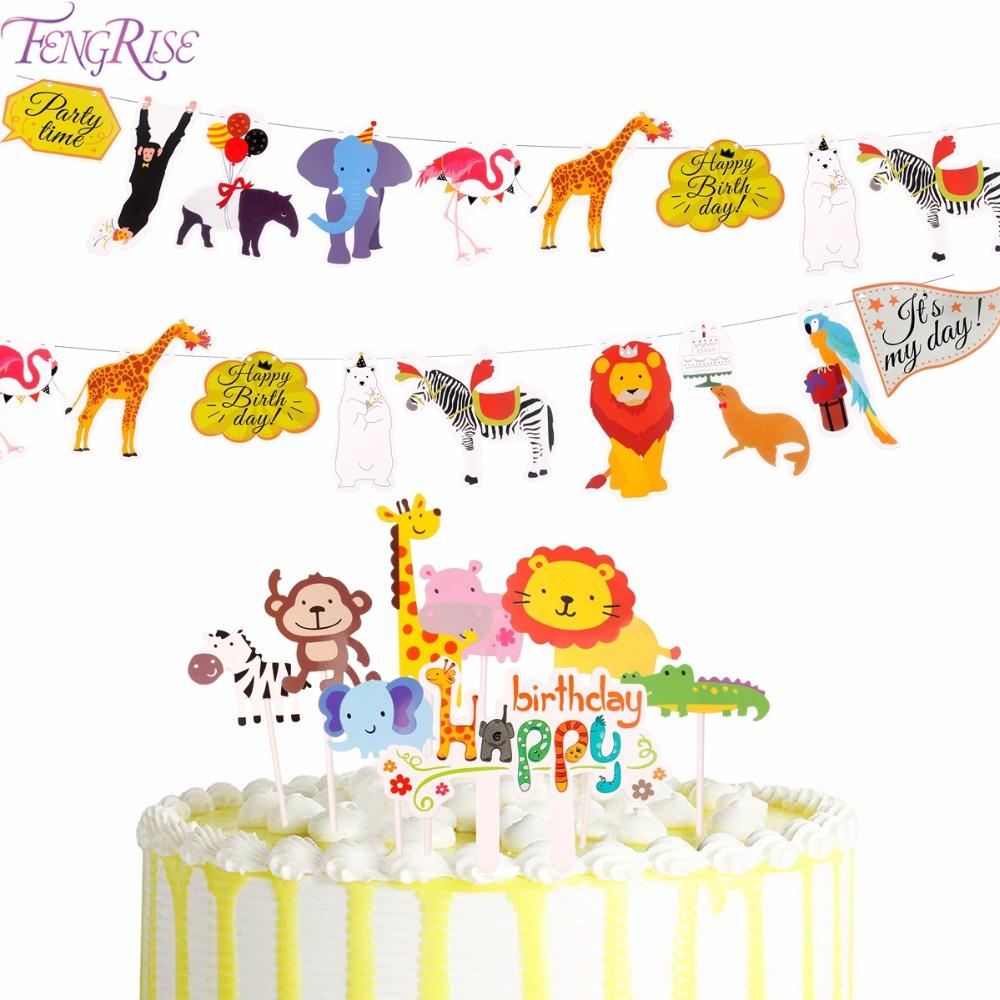 FENGRISE Jungle Party Animal Flags Banners & Accessories Wildlife Animal  Cake Topper safari party Paper Flag Baby Shower Decor
