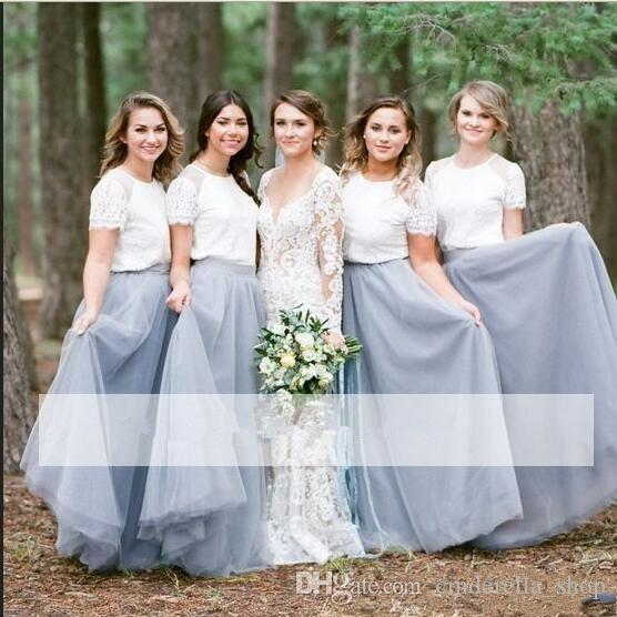 2020 Country Two Pieces Bridesmaid Dresses Jewel Short Sleeve Lace Top Floor Length Long Beach Wedding Guest Dress Maid Of Honor Gowns
