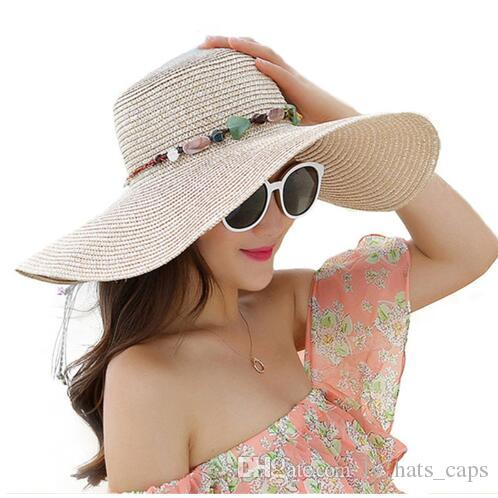 92285ddbc 2018 Hot Big Brim Sun Hats For Woman Foldable Colorful Stone Hand Made  Straw Hat Female Casual Shade Hat Summer Hat Beach Cap