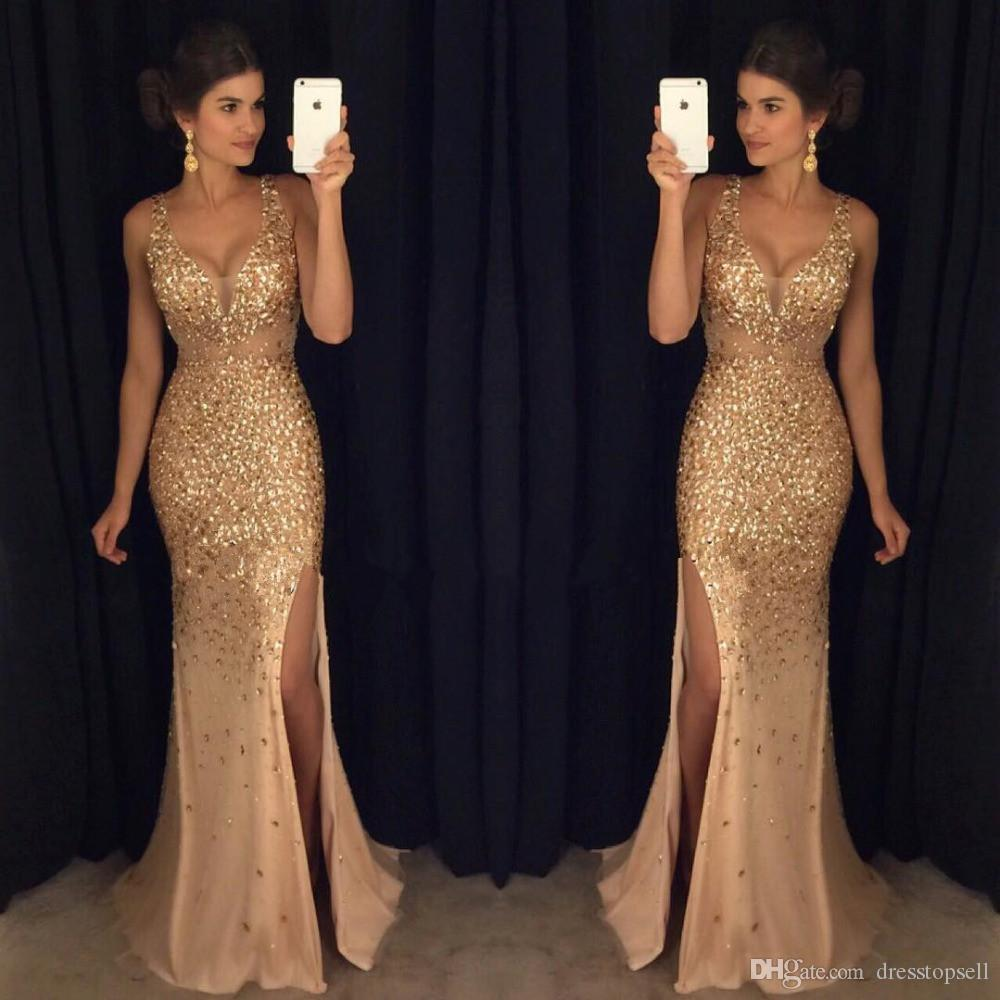 2019 original best collection online for sale Luxurious Evening Dresses 2019 Mermaid V Neck Tulle Crystals Slit Sexy  Islamic Dubai Kaftan Saudi Arabic Long Evening Gown