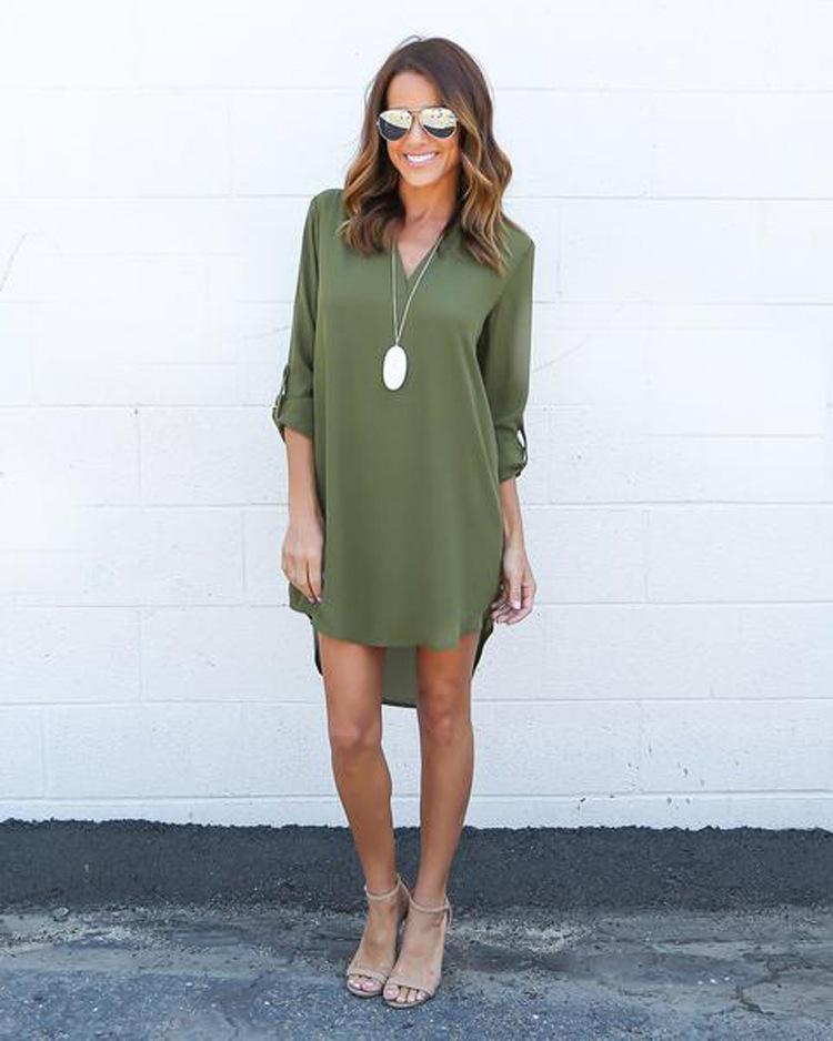 6c6e8d23bd7c 2018 Autumn Dress V-neck Half Sleeve Casual Chiffon Dress Shirt Black Gray  Women Plus Size Solid Asymmetrical Dresses Online with $34.84/Piece on ...