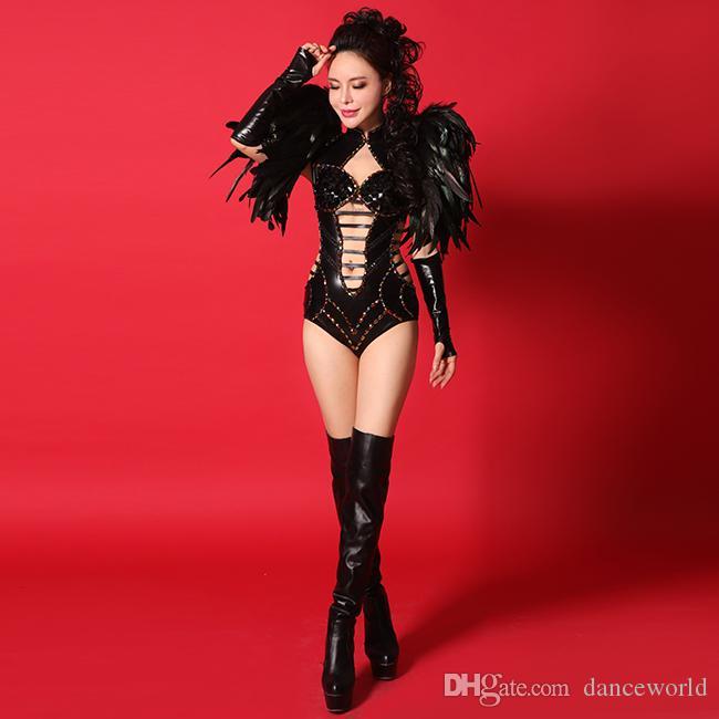 Ds الطائر الأسود الريشة الكتف اللباس الحفلة الراقصة المرحلة أداء الرقص فساتين كريستال ارتداءها مجموعة ملابس مثير أزياء زي