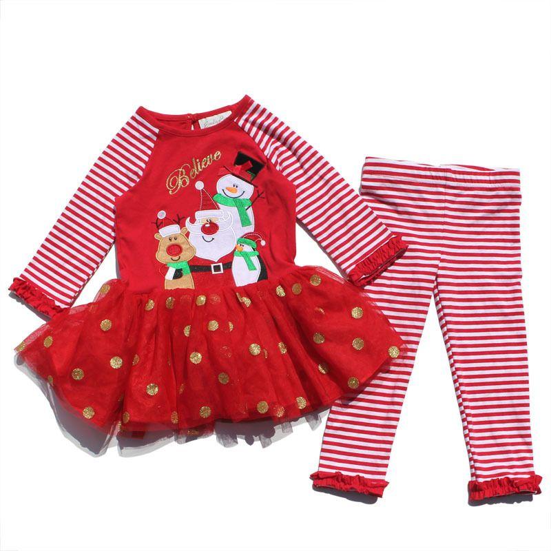 2019 Children Christmas Outfit Girl Santa Claus Top Stripe Pant