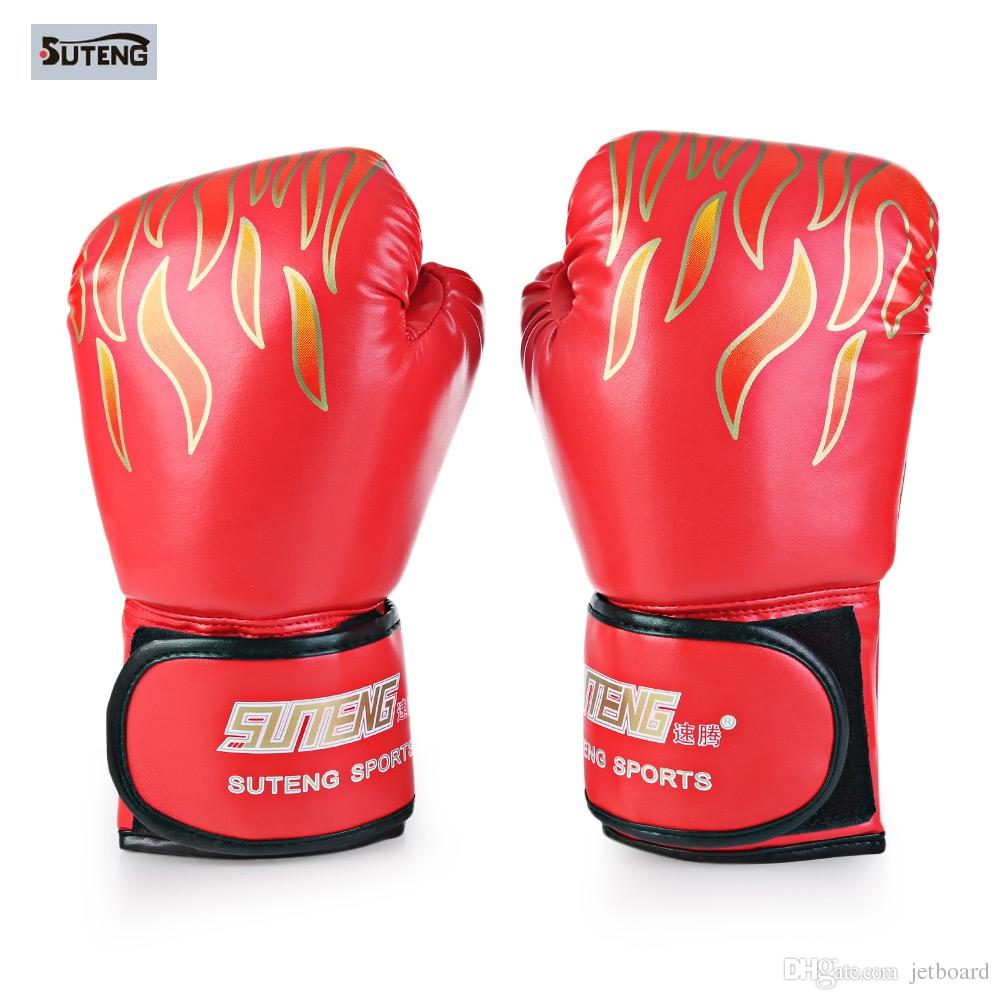 Suteng 1 Pair Sparring Muay Thai Grappling Fire Pattern Kick Boxing Gloves With air holes, will not get all sweaty and smelly