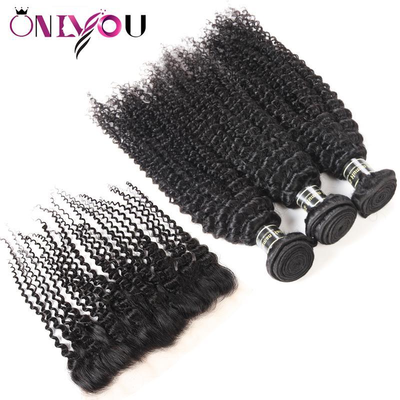 Peruvian Body Wave Bundles avec dentelle frontale Brésilienne Vague profonde Kinky Curly Virgy Vierge Human Hair Weave 3/4 Bundles avec fermeture frontale Fermeture
