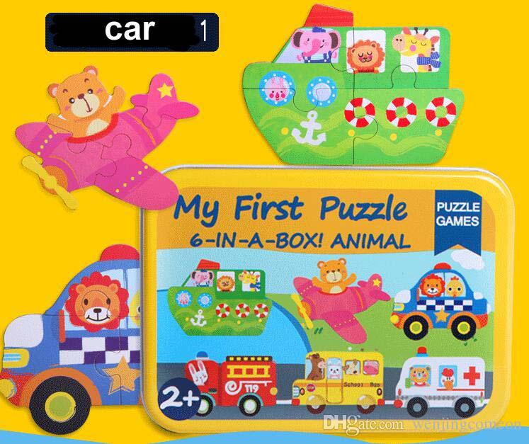 새로운 아기 장난감 6 1 퍼즐 세트 철 상자 총 6 퍼즐 나무 장난감 만화 동물 / 차량 나무 장난감 어린이 교육 선물