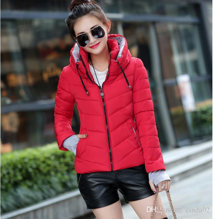 65a030c64f1e Winter Jacket Women Plus Size Womens Parkas Thicken Outerwear Solid Hooded  Coats Short Female Slim Cotton Padded Basic Tops Red Leather Jacket Black  Jackets ...