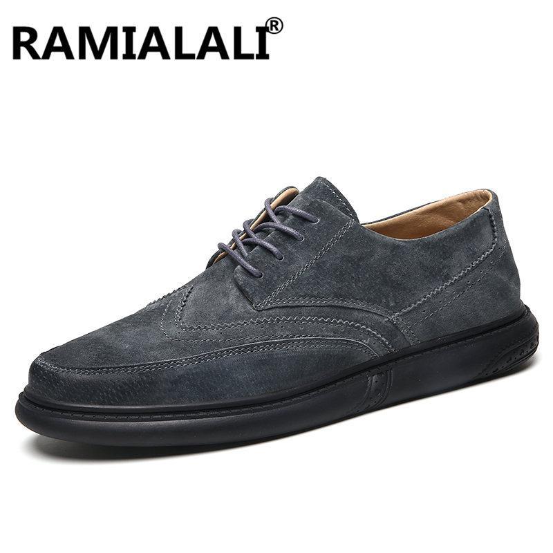 1ca6b660 Compre Ramialali Cuero Genuino Zapatos De Los Hombres De Moda Cosidos A  Mano Suela De Goma Antideslizante Casual Hombres Pisos Zapatos De Negocios  Calzado A ...