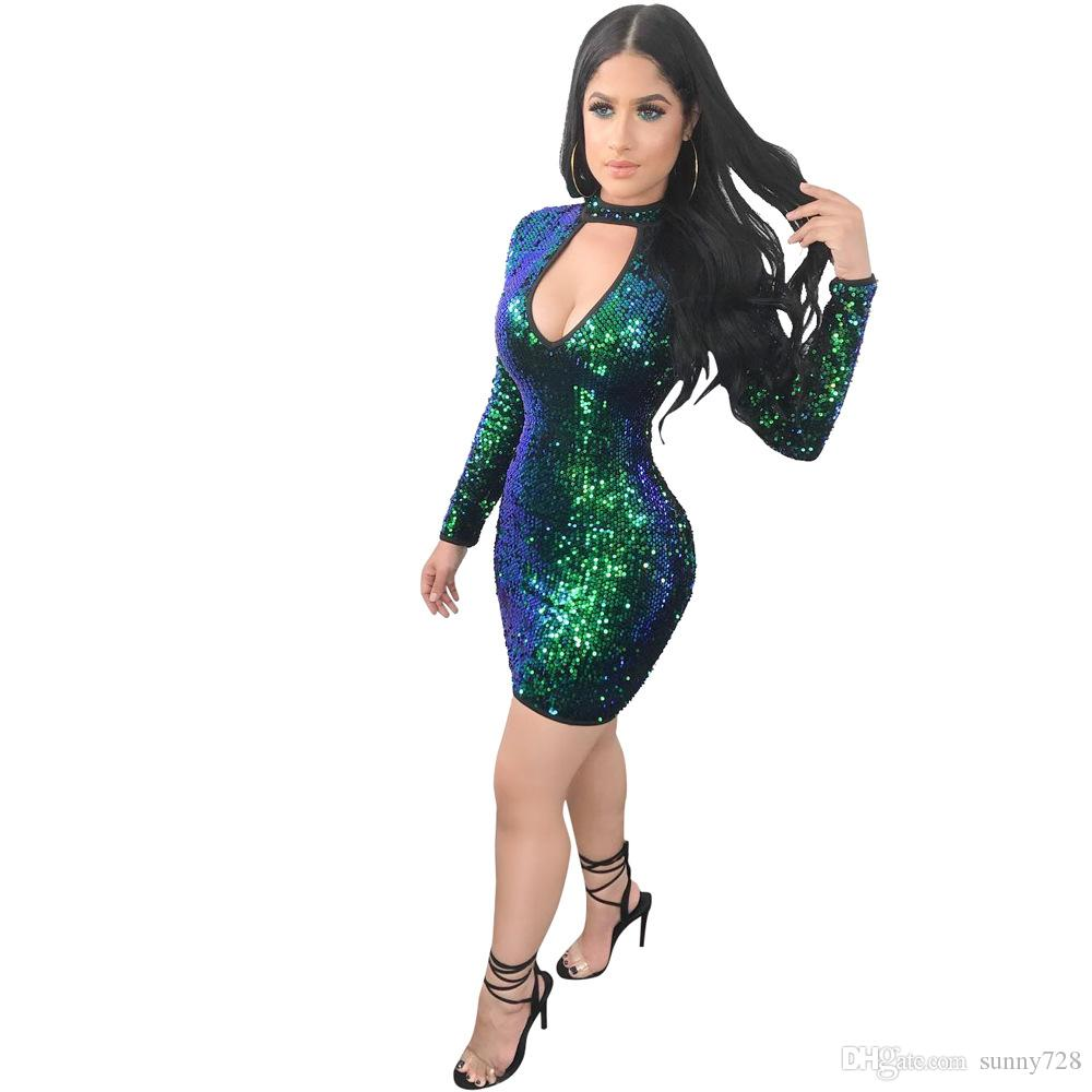 Fashion Gradient Sequined Short Party Dresses Green Gold High Neck Hollow Out Long Sleeves Bodycon Dress with Zipper Back 2018 Made in China