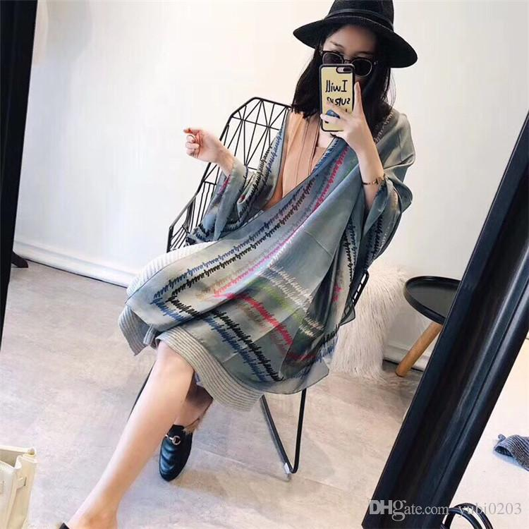 2018 spring and summer new wild simulation silk scarves thin women's scarf beach sunscreen thin shawl