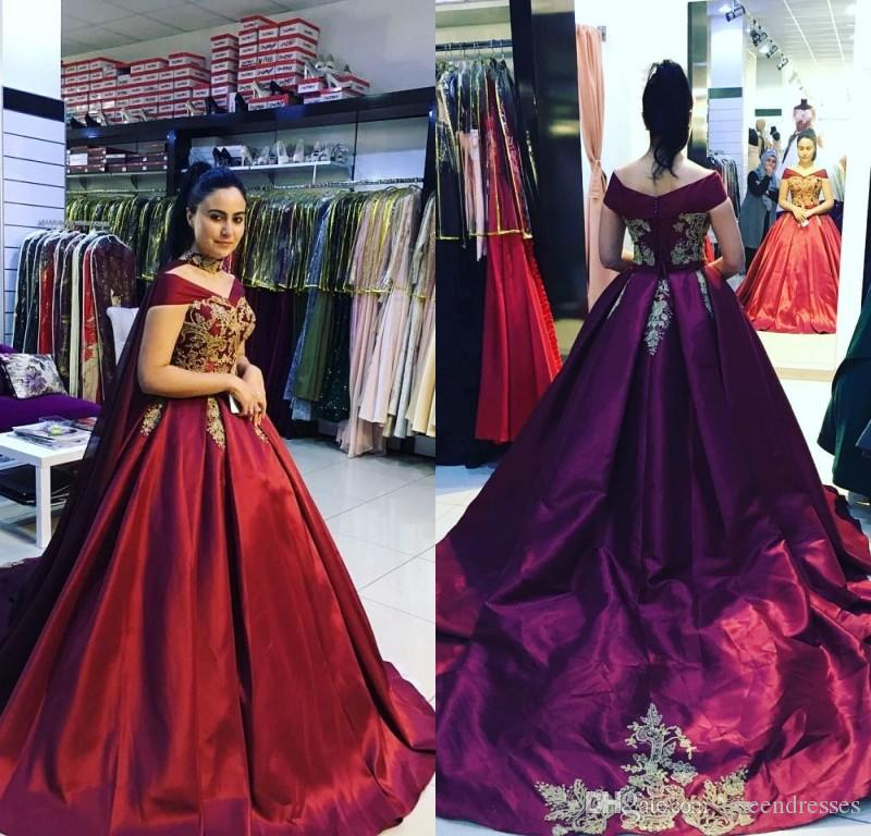 Modest Princess Burgundy Red Long Evening Dresses Off Shoulder Cap Sleeve Taffeta Evening Gowns Formal Women Special Occasion Prom Dresses