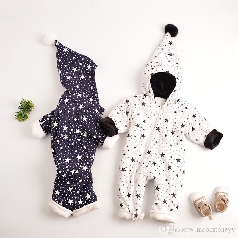 34bef1d4f Warm Baby One-Piece Romper Boy Girl s Star Coat Newborn Cotton Padded Thick  Bodysuit with Wizard Hat For Toddler