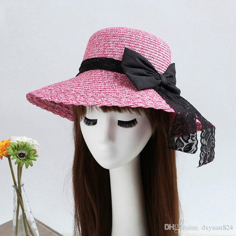 Compre Moda Chapéu De Palha Feminino Aba Larga Senhora Elegante ... cfc89144c05