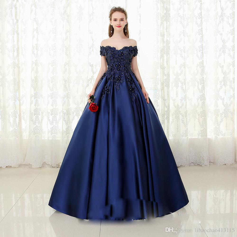 37db1ab44f0 Compre V Cuello Azul Marino Largo Vestido De Noche De Encaje Con Cuentas  Vintage Prom Vestidos Vestido De Fiesta Fuera Del Hombro Vestido De Fiesta  Barato ...