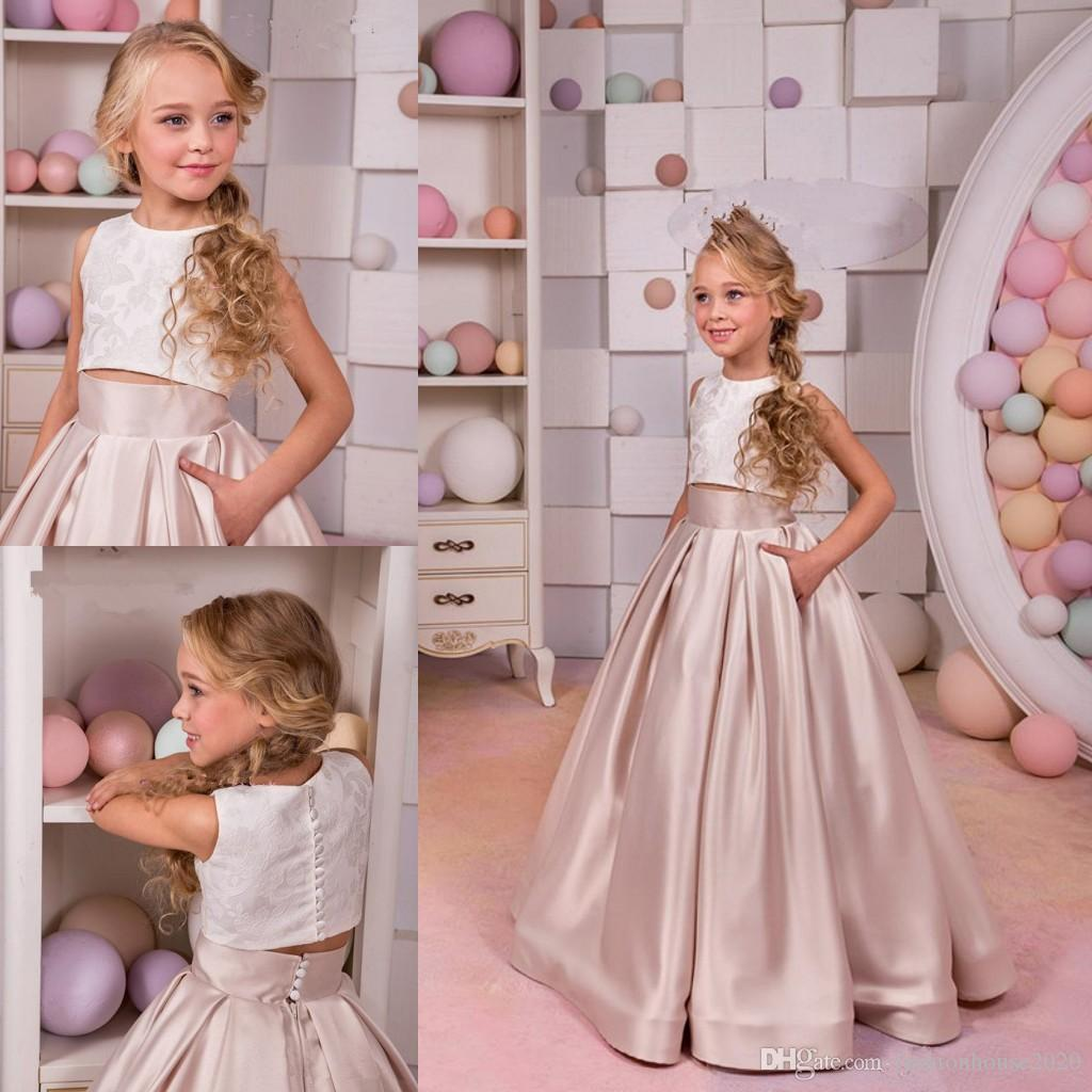 58efa402125 2018 Flower Girls Dresses For Weddings Champagne Two Pieces Button Back  Satin A Line Floor Length Pocket Kids Birthday Girls Pageant Gowns Flower  Girl ...