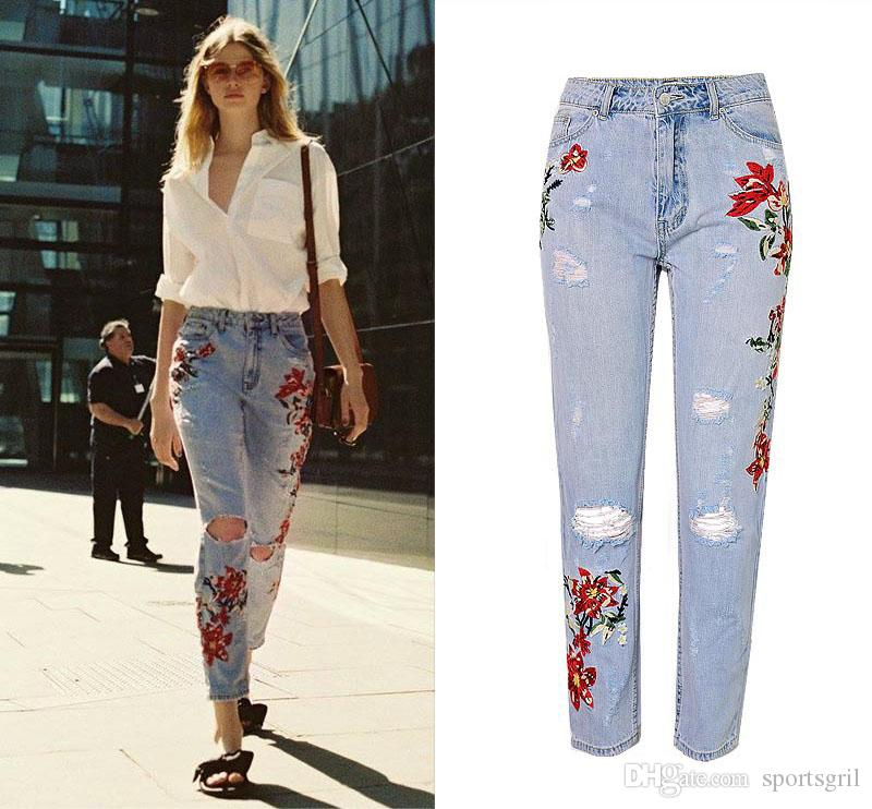 2019 Woman Floral Print Jeans Diesel Washed Out Rip Jeans
