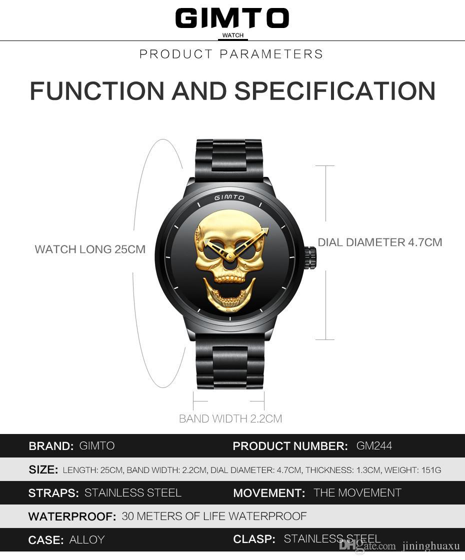 GIMTO топ Марка большой череп мужчины часы роскошные Кварцевые наручные часы черный стали часы прохладный мальчик мужской военный водонепроницаемый спортивные часы