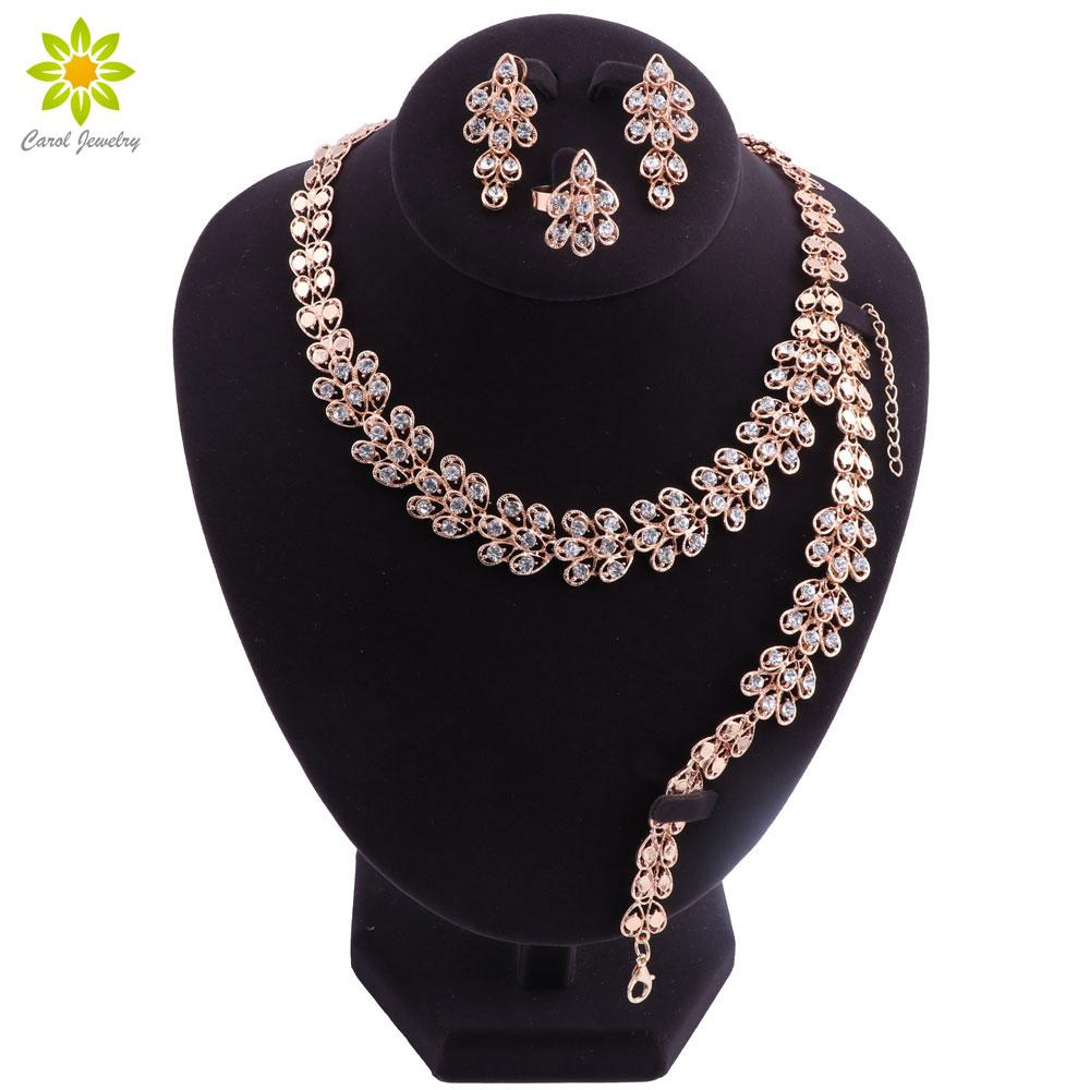 c265cad1d54 2019 Rose Gold Color Nigerian Wedding African Beads Jewelry Set For Women Crystal  Necklace Fashion Jewellery Sets From Handanxuebu, $33.37   DHgate.Com