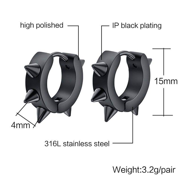 WK Black Gothic Punk Stud Earrings For Women Men 316L Stainless Steel Rivet Spike Earrings Rock Party Jewelry